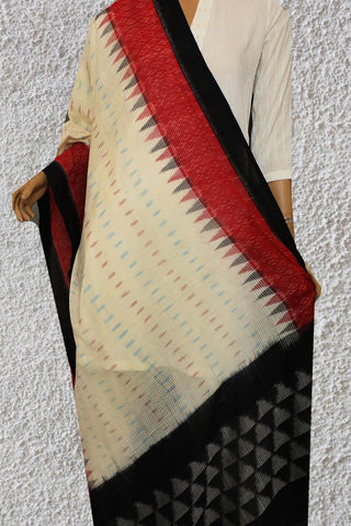 Missing Weaves with Temple Border Handwoven Ikat Dupatta