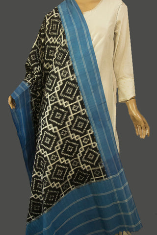 Black with Light Blue Telia Rumal Ikat Dupatta with Tassels
