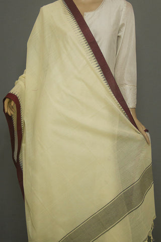 Off-White with Maroon Kuppadam Border Dupatta