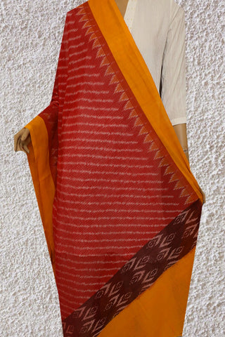 Red with Off White Missing Weaves Ikat Cotton Dupatta