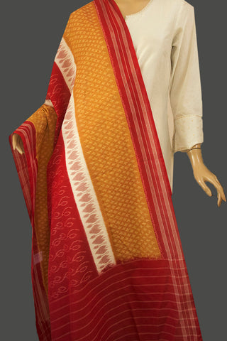 Yellow with Maroon Handwoven Ikat Dupatta with Tassels