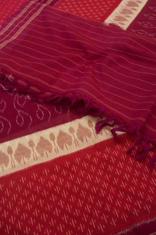 Purple with Peach Handwoven Ikat Dupatta