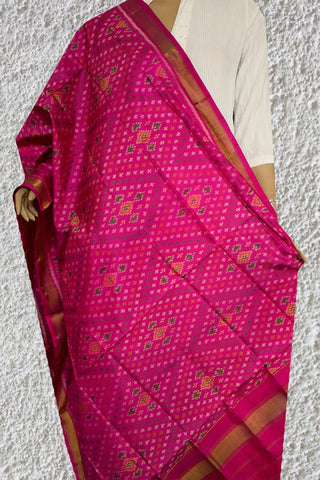 Pink with Green Patola Silk Ikat Dupatta