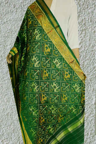 Elephants in Green Patola Silk Ikat Dupatta