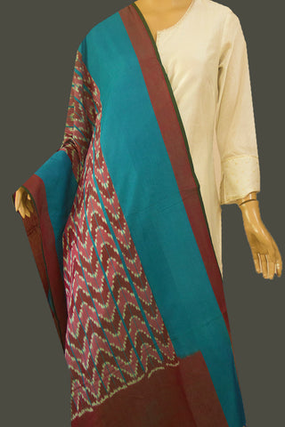 Brown Waves Mercerized Handwoven Ikat Dupatta with Tassels