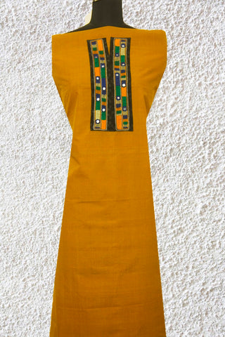 Mustard Yellow Mangalagiri Fabric with Lambani embroidered yoke