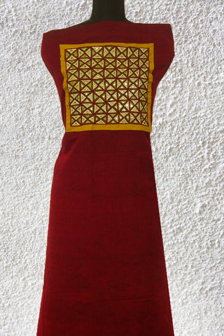 Maroon with yellow Intricate Triangles Kutch Embroidered Kurta Fabric