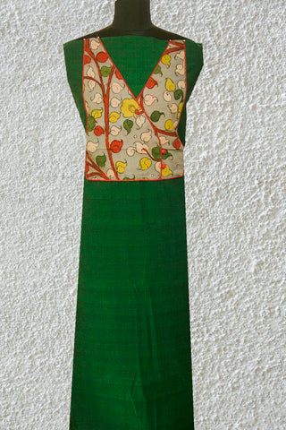 Green Mangalagiri Handwoven Cotton Fabric with Painted Kalamkari yoke