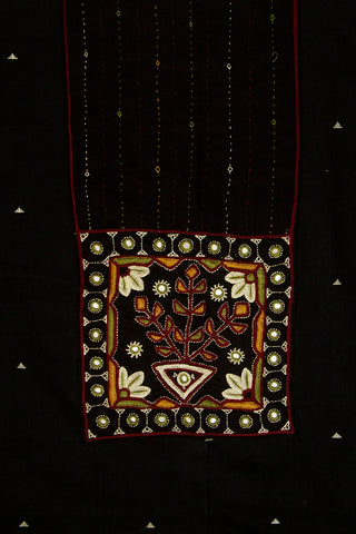 Handwoven Butta Fabric with Kutch Embroidered yoke