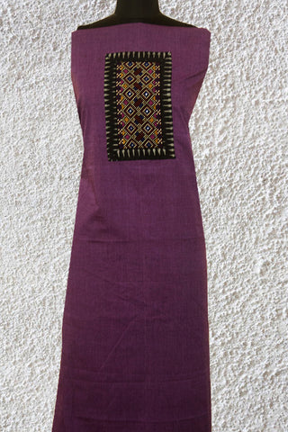Lavender HandwovenCotton Fabric with Kutch Embroidered yoke