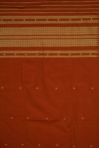Rust Red with Beige Handwoven Cotton Urmul Kurta Fabric