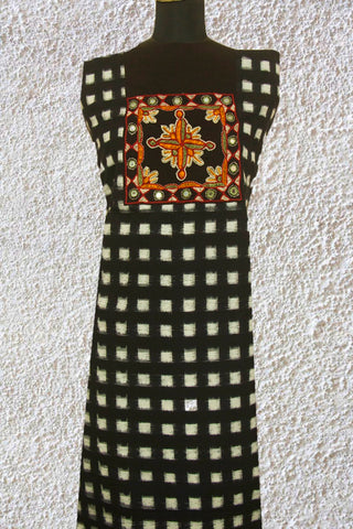 Black Checks Handwoven Ikat Fabric with kutch Embroidered yoke