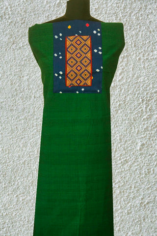 Green Handwoven Cotton Fabric with Kutch Embroidered yoke