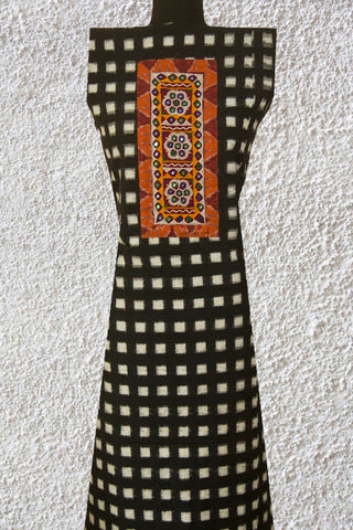 Black Handwoven Ikat fabric with Kutch Embroidered yoke Kurta Fabric