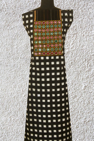Black Handwoven Ikat with Mirror Yoke
