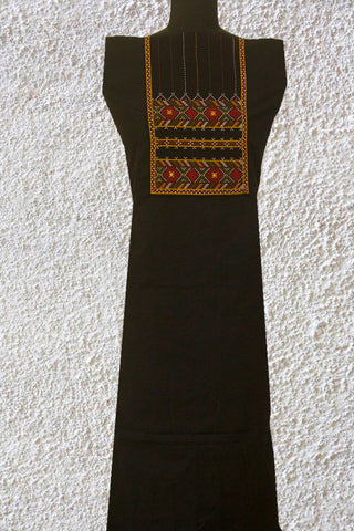 Black Yarn Dyed Cotton Fabric with Kutch Embroidered Yoke