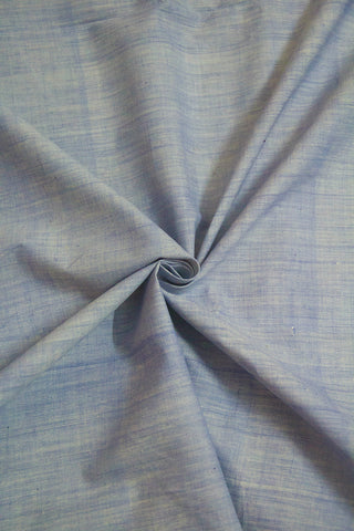 Light Blue Handspun Handwoven Cotton Fabric-0.5 m