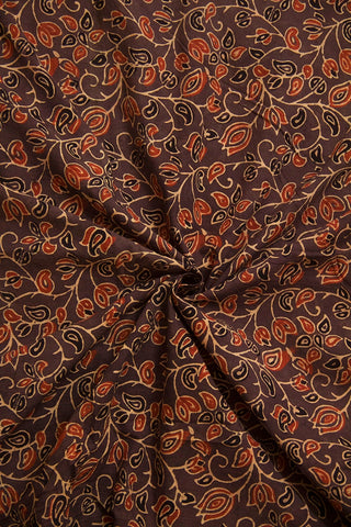 Greyish Brown Lotus Ajrak Cotton Fabric