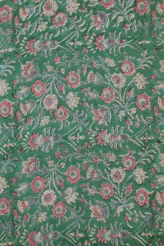 Green with Pink Floral Block Printed Mul Cotton Fabric