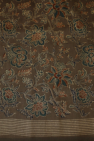 Maroon with Blue Floral Gold Print Silk Cotton Fabric