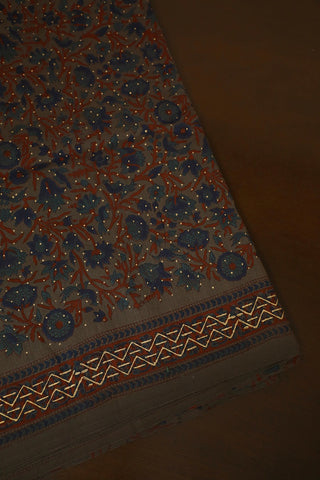 Blue with Maroon Floral Silk Cotton Fabric