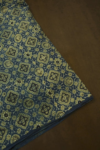 Blue with Yellowish Green Ajrak Cotton Fabric-1.5 m