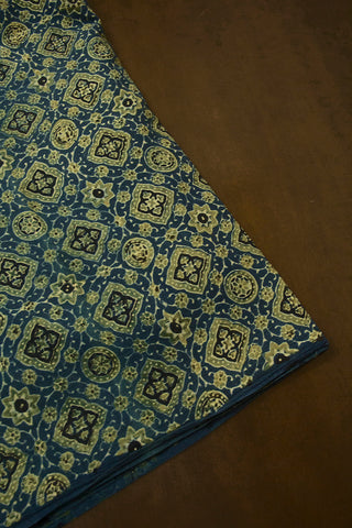 Blue with Yellowish Green Ajrak Cotton Fabric
