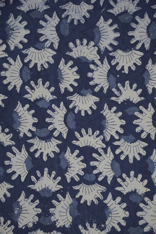 Indigo with Off White Dabu Block Printed Fabric