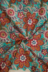 Sky Blue with Maroon Flower Motif Sanganeri Fabric - 0.6m