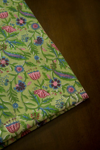 Green with Pink Floral Sanganeri Cotton Fabric - 1.7m