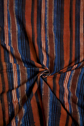 Brown with Indigo Lines Bagru Block Printed Cotton Fabric
