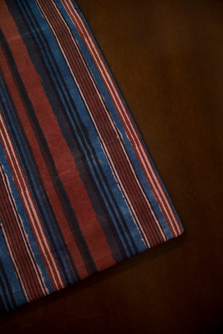 Rust Red with Indigo Lines Dabu Print Cotton Fabric