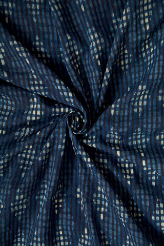 Indigo with Off White Diamond Dabu Print Cotton Fabric