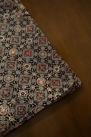 Faded Blue with Maroon Ajrak Cotton Fabric