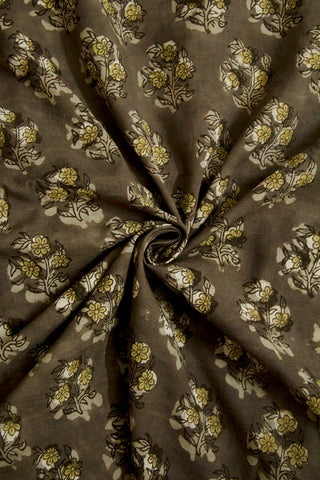 Grey with Light Yellow Flower Bagru Block Printed Cotton Fabric