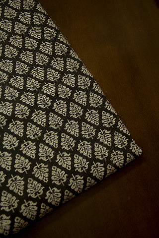 Black with Off White Bagru Block Printed Cotton Fabric