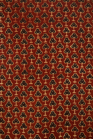 Maroon with Black Ajrak Cotton Fabric- 0.7m