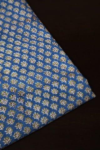 Blue with Small Floral Mul Cotton Fabric