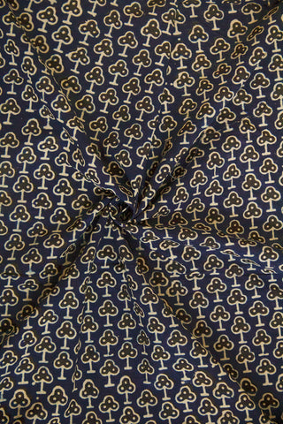 Blue with Black Ajrak Cotton Fabric