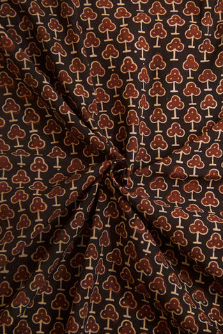 Black with Maroon Ajrak Cotton Fabric