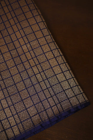Blue Brocade Banarasi Silk Fabric
