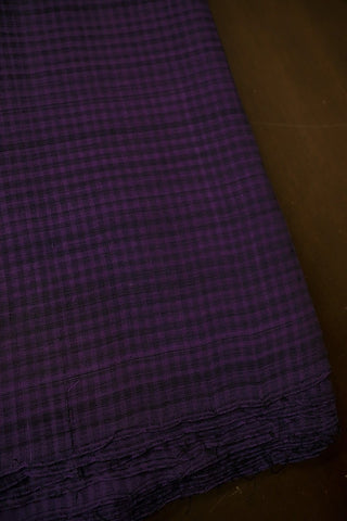Purple with Black Checks Mangalagiri Cotton Fabric - 1 m