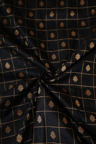 Black with Zari Checks Banarasi Silk Fabric