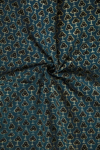 Faded Indigo Blue with Black Ajrak Cotton Fabric-0.9m