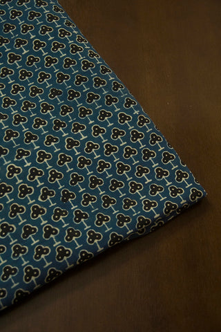 Faded Indigo Blue with Black Ajrak Cotton Fabric