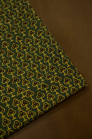 Green with Black Ajrak Cotton Fabric