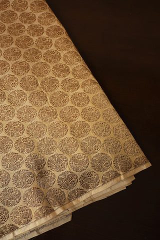 Golden Beige Brocade Banarasi Silk Fabric