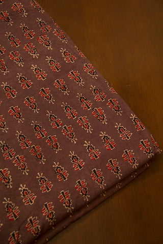 Faded Brown with Maroon Ajrak Cotton Fabric