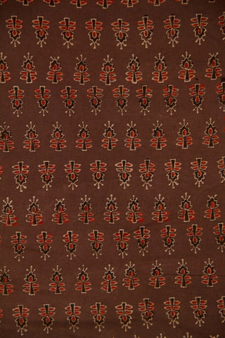 Faded Brown with Maroon Ajrak Cotton Fabric-0.6 m