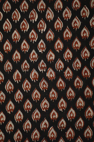 Black with Brown Bagru Block Printed Fabric